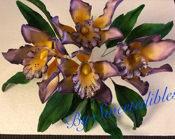 Purple Gum paste  Orchid Cake Decoration Lavender