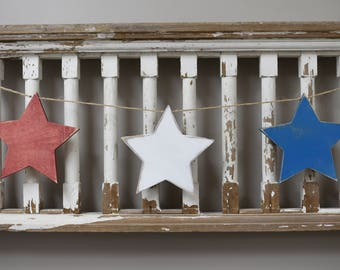 Set of 3 distressed red white and blue wooden stars banner rustic decor Boho Abstract Design nautical americana patriotic