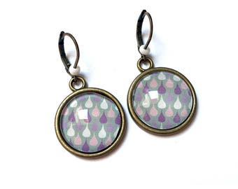 Earrings cabochon * rain * round
