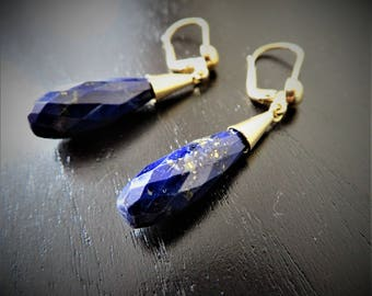 VINTAGE 18KT YELLOW GOLD Earrings with blue lapis lazuli