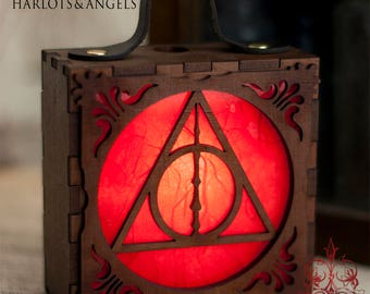 Steampunk Lamp, Harry Potter, Geek Gift, Steampunk Accessory, Deathly Hallows, Cosplay, Larp, unique accessory, Wearable Lantern, RED