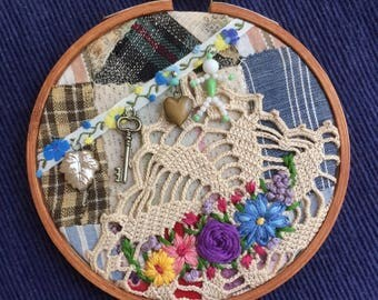 Embroidered Collage Hoop vintage patchwork, doily, trim, charms, upcycled art