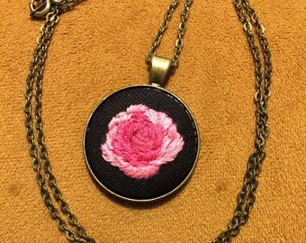 Pink Rose embroidered necklace metal base