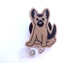 Glitter vinyl Badge Holder Retractable - German Shepherd K-9 badge reel - dog puppy - nurse badge reel veterinarian teacher medical staff