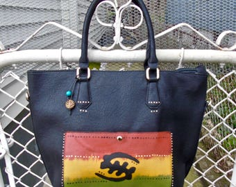 ON SALE: Tribal Immunity Black Hand painted Gye nyame Vegan Faux Leather Tote with beads