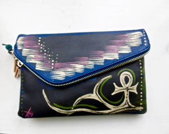 "Tribal Immunity Hand Painted Vegan Leather Navy Ankh ""Pride"" 3-in-1 Clutch Crossbody Wristlet Handbag"