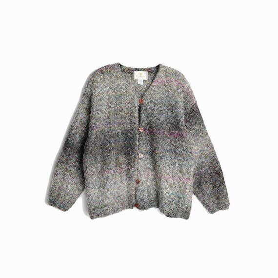Vintage 90s Fuzzy Boucle Cardigan Sweater in Gray & Purple Ombre / 90s Express Mohair Sweater - women's large