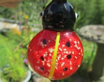 LADYBUG LADY BUG - (1) Glow in the Dark Pendant - Glass Lampwork Focal Bead