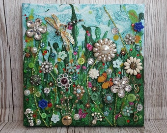 Mixed Media Art, Upcycled Jewellery art, vintage jewelry collage, painting, Original Art, flower art, small art, canvas art, glitter art