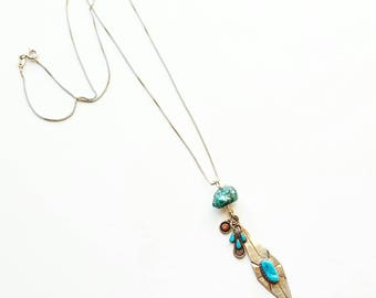 Bohemian turquoise coral sterling silver necklace