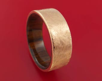 14K Rose Gold Band with Distressed Finish and Koa Wood Sleeve Custom Made
