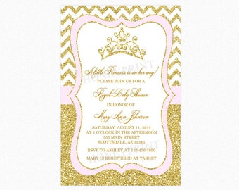 Princess Baby Shower Invitation, Tiara Crown Baby Shower Invitation, Blush Pink, Gold Glitter, Personalized, Printable and Printed