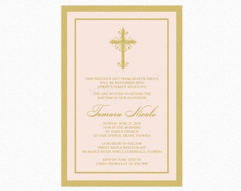 Baptism Girl Invitation, Christening Girl Invitation, Blush Pink, Gold, Floral Cross, Personalized, Printable or Printed