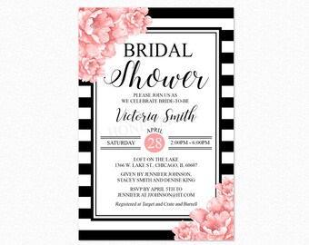 Peony Floral Bridal Shower Invitation, Black and White Bridal Shower Invitation, Pink Flowers, Printable or Printed