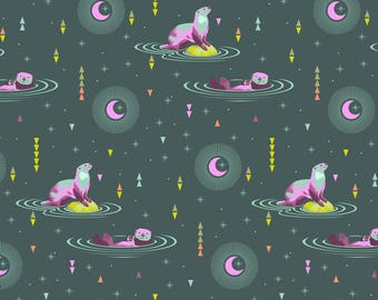 Free Spirit Tula Pink Spirit Animal Lunar Otter & Chill Fabric - 1 yard