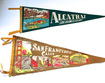 Vintage 1950's-60's Lot of 2 San Francisco/Alcatraz Souvenir Wall Pennants!