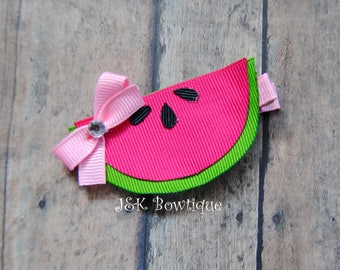 Watermelon hair clip, hair bow, summer time, watermelon pink and green