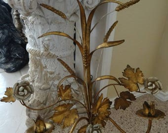 Vintage Italian Tole Wheat and Rose Metal Sconce