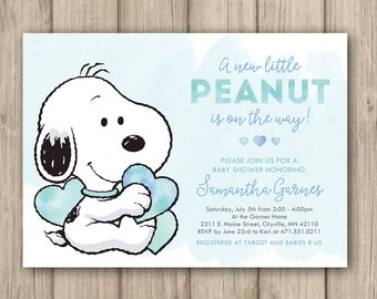 Snoopy Baby Shower Invitation, Peanuts Baby Shower Invitation, Baby Boy  Shower Invitation, Our