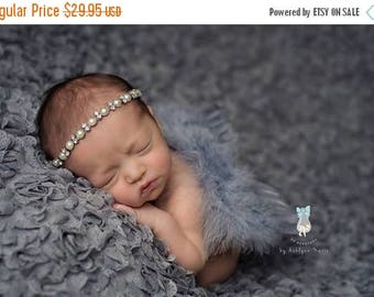ON SALE Feather wing and headband set, Grey Feather Wings and Rhinestone Headband, Baby Photography Prop, Newborn Photography Prop
