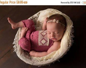 ON SALE Pearl Bow headband, baby headband, newborn headband, newborn photography prop, baby girl prop,