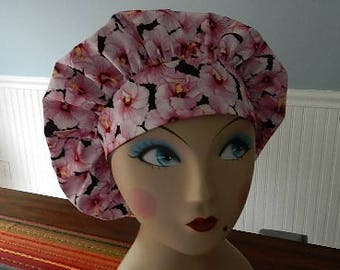 Pink Hibiscus  Banded Bouffant Surgical Cap Bakers Cap/Chef Cap