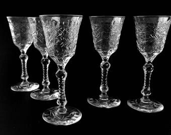 Vintage Cut Glass Stemware, Crystal Cordial Glasses, Liqueur Stems, Stemmed Shot Glasses, Stemmed Liquor Glasses