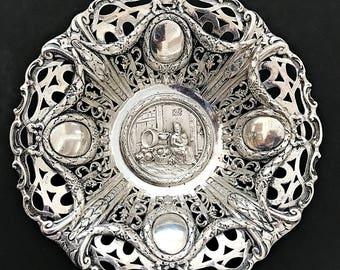German Silver Pierced Footed Bowl Georg Roth Hanau Repousse Silver Bowl