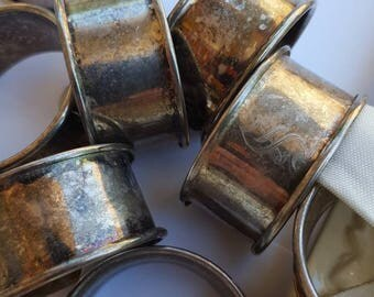 S monogram vintage silver plated napkin rings