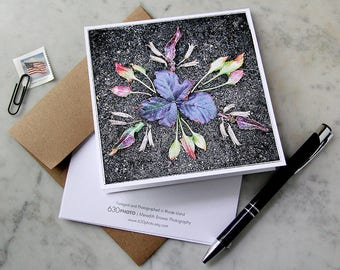 Purple Prickers Mandala ~ One 5x5 Square Note Card (with envelope, blank inside, no message)