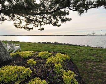 Rhode Island Photography, Newport Bridge, Goat Island, Master Bedroom Wall Art, Seaside Cottage Decor, Ocean Photos, Large Art Prints, 20x30