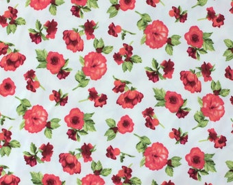 White Pink and Red Rose Floral Brushed Poly Spandex Knit, 1 Yard