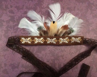 Lace Indian headress, infant, native, american, embroider, newborn headband, native, feathers, headdress, native american, baby photo prop