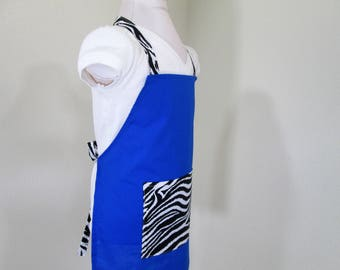 Childrens Apron - A solidy Blue Beauty with a Zebra print on the straps and pocket, great for cooking, arts and crafts or painting