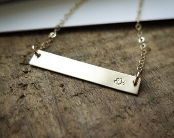 Lotus Flower Necklace - Simple - 14k Gold Fill Bar Necklace - Hand Stamped Jewelry by Betsy Farmer Designs - Dainty Jewelry Gift
