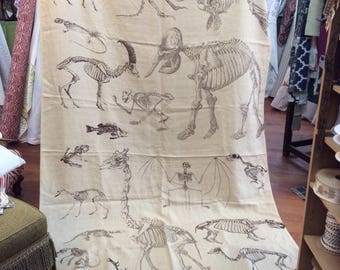 """LAST PIECE 108 inches  """"Skeletons"""" by Design Legacy print fabric"""