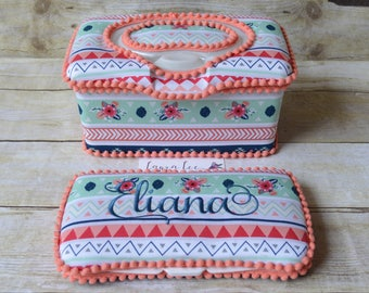 Set of 2, Large Nursery Wipe Case and Travel Baby Wipe Case Gift Set, Coral and Mint Floral Aztec Stripes, Baby Shower Gift, Wipe Holder