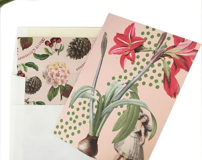 BLACK FRIDAY SALE Fairy Christmas Card Pink Green Amaryllis Peppermint Scented