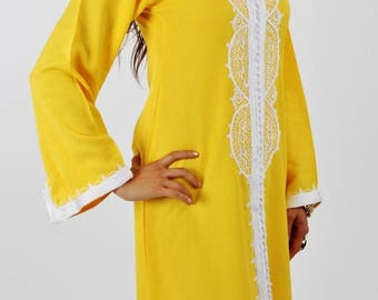 10% OFF Summer SALE // Yellow Moroccan Maxi Dress Caftan -Luxury loungewear,resortwear,beach cover up, great for beach wear, Birthdays,Honey