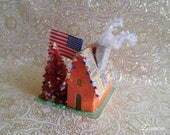 4th of July Putz House, Stars, Bottle Brush Tree, Vintage Red White Blue, Patriotic Decoration, Vintage Firecracker Ad RESERVED for Diane :)