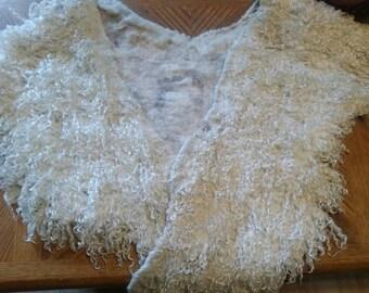 Angel Wings / Shawl /  Teeswater / Wool / Photo Prop  Felted / Felted Piece / Prefelt / White Wool Locks