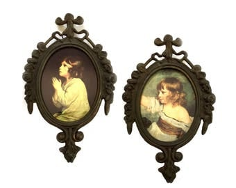 Small Italian Baroque Brass Frames with Portraits of Girls Made in Italy Brass Wall Frames