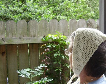 Handcrafted Coif 18 inches length Child's Irish Aran Wool Natural Color Crocheted Winter Cap Reenactment Middle Ages Headwear BOHO
