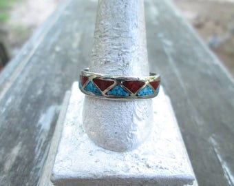Vintage Men's Mexican Alpaca Crushed Turquoise & Coral Ring - Men's Southwestern Alpaca Crushed Turquoise Inlay Band Ring