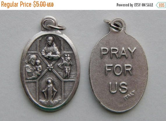 CLOSING SALE 5 Patron Saint Medal Findings - 4 Way Cross, Die Cast Silverplate, Silver Color, Oxidized Metal, Made in Italy, Charm, Drop, RM
