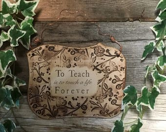 To Teach Ceramic Plaque - Sepia