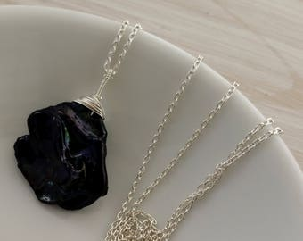 Sterling silver & single black keshi petal pearl necklace