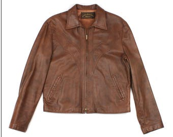 vintage 1970s leather jacket • western style made in USA