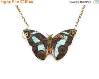 CIJ SALE 17% OFF Steampunk Pimped Wooden Butterfly Necklace - Clockwork Butterfly Ed1 - bronze plated chain - Ooak Etsy uk
