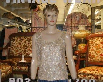 Vintage Vtg 60's Mod Go Go Beaded Sequin Top Blouse - Size M